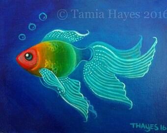 Original Big Eye Art Acrylic Painting Rainbow Fish Ocean Underwater Surreal Tamia Chicasol