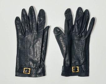 Vintage Navy Buckle Leather Gloves