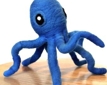 Needle Felted Blue Octopus - Nautical Octopus Home Decor Wall Art by Karen Watkins - Moveable Felt Octopus Art Doll