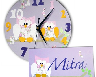Owl Clock and Personalized Door Sign Gift Set / Children's Clock / Personalised Door Plaque / Nursery Decor - Pink, Blue, Yellow