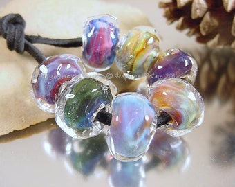 Handmade lampwork glass beads, Artisan glass beads, blue beads, purple beads, aqua beads, pink beads, rondelle beads, SRA lampwork beads