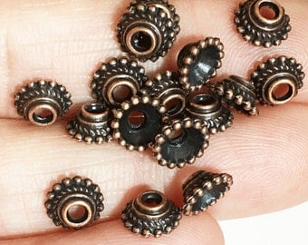 50 pcs of Antiqued copper flower dotted bead caps 7mm