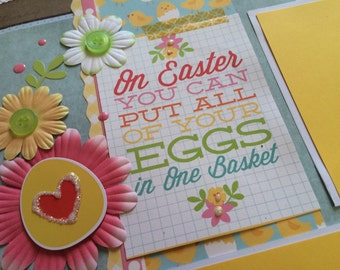 Easter scrapbook pages, 2 page layout, Easter eggs, Easter Sunday