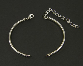 4 Pcs Silver Bangle Bracelet Finding with Extender Chain Rhodium Tone Bracelet Component Jewelry Supply for DIY Bracelet Base |S11-8|4
