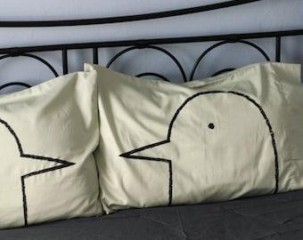 Unique Dorm Decor, Green Tea Love Birds Pillow case Set, wedding gift for her couples gift for women, husband, cotton bedding anniversary