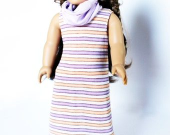 Fits like American Girl Doll Clothes - Purple Stripe Maxi Dress and Infinity Scarf