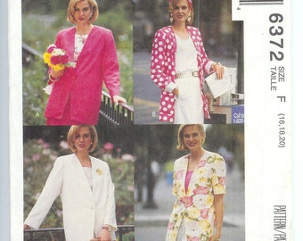 McCalls  Misses  Unlined JACKET  Sewing Pattern 6372  Size F  16-18-20  UNLINED