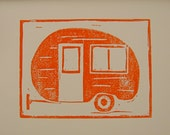 Vintage Travel Trailer Linocut Travel Art Print Camper Art Vintage Inspired Art Orange Art Print Summer Road Trip