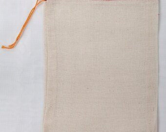 25 6x10 inch Cotton Muslin Red Hem and Orange Drawstring Bags