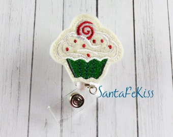Christmas Cupcake topped with Candy Felt Badge Holder with Retractable Badge Reel. A great gift for yourself or for a coworker