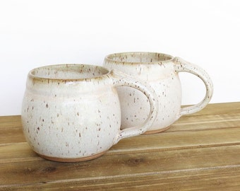Ceramic Pottery Mugs, Stoneware Coffee Cups in Satin Oatmeal Glaze - Set of 2