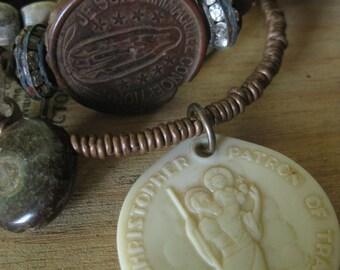 protected travel ~ ethnic ammonite shell religious gemstone summer bangles