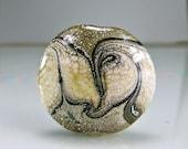 Tan Ivory Silver Organic Lampwork Focal Bead  SRA Glass Bead
