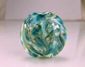 Blue Aqua Silver Lampwork Focal Bead SRA Lampwork Glass Beads