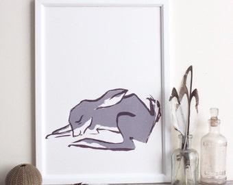 Sleppy grey bunny (or orange hare) original screen print