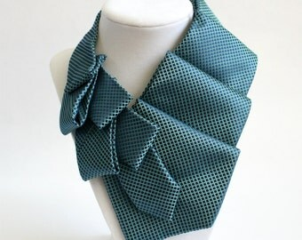 Neckties For Women - Necktie Necklace - Work Wear - Gift For Wife - Memorial Gift - Unique Gift - Womens Blue Necktie Scarf. 17.