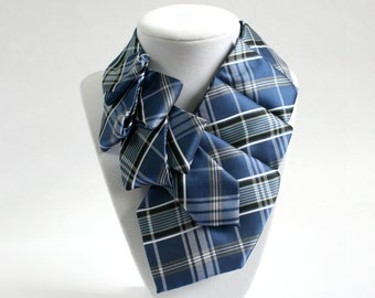 Statement Necklace - Necktie Necklace - Womens Necktie - Memoriam Gift - Upcycled Tie - Gift For Mom - Work Wear - Blue Plaid Tie 29.