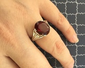 Synthetic Garnet Ring