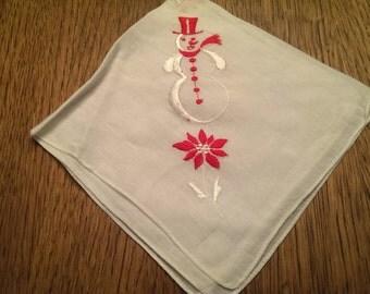 Vintage Embroidered Christmas Hanky. Unusual Snowman & Poinsettia