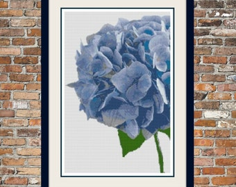 Blue Hydrangea Counted Cross Stitch Pattern