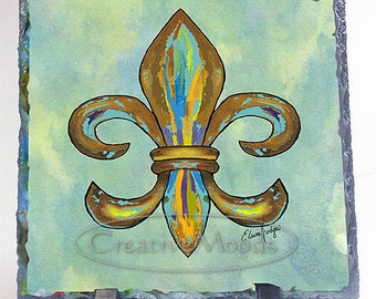 Colorful Fleur de Lis Original Art Slate, New Orleans, Louisiana, Decor