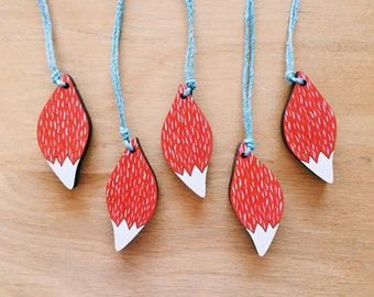 Fox Tail Necklace . Hand painted Necklace . Woodland Creature . Forest