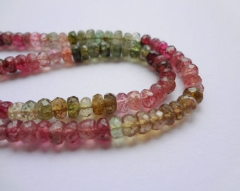 3.5mm Tiny Faceted Tourmaline Rondelle Colorful Gemstone Beads - 50pcs