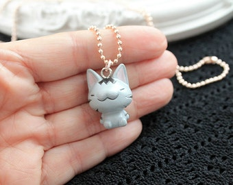 Kawaii taby cat simple necklace cute lolita girl kitten kitteh kitty retro pink gold chain