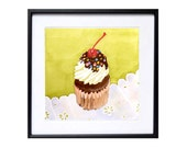 1. Watercolor Painting Cup ake Art, Watercolour Printings dessert art, Kitchen art, Kitchen wall decor,cake painting Cake wall decor art