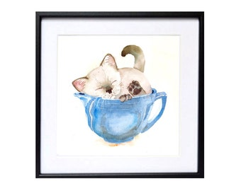 Cat Art | Kitten art print, Watercolor painting, Cat artwork, Siamese kitten wall art, Cat in cup, Meme feline, cat wall art, blue painting