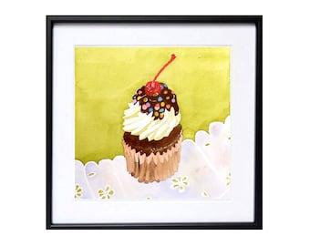 Mothers Day Gift Cake Art - Watercolor Print / Dessert art / Cake painting / Kitchen art / Kitchen decor / Cake wall decor art pastry K