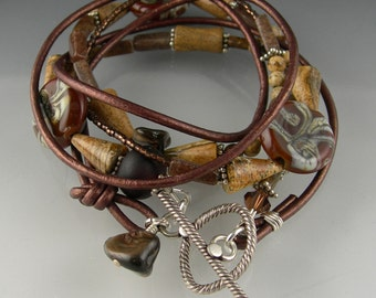 Brown Lampwork Glass Beaded Leather Triple Wrap Boho Gypsy Bracelet in Sterling Silver with Lampwork Glass and Gemstones