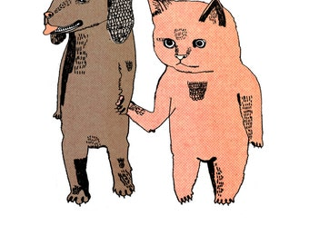 Cat and Dog Notecard