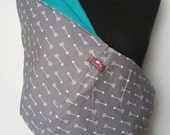 Baby Sling  Baby Carrier - Gray with White Arrows  - Tuquoise Lining Second Items ships free