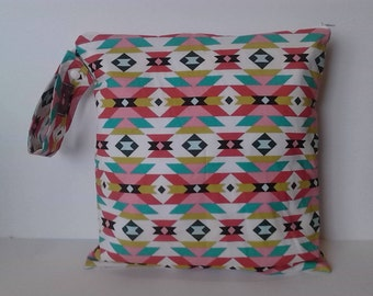 Wet Bag , Aztec Teal and Rose