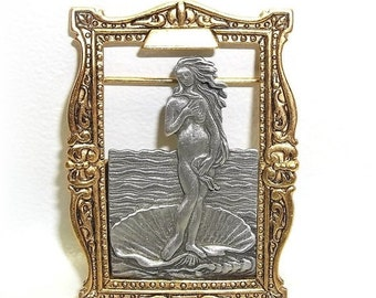 JJ Birth Venus Botticelli inspired Jonette mermaid vintage pin brooch Rare