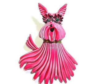 Yorkshire Terrier JJ Jonette vintage pin brooch Pink enamel Yorkie