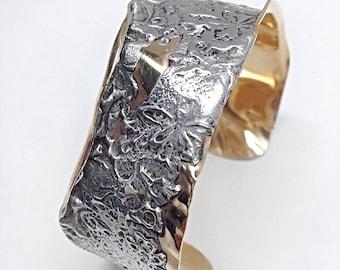 Crushed - mixed metal cuff