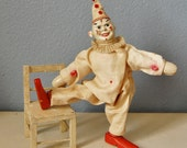 1920s Schoenhut Clown Humpty Dumpty Circus Wooden Toy Display Chair Circa 1928