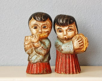 Carved Wooden Musician Angel Couple Painted Figures Vintage Folk Mexico 1960s