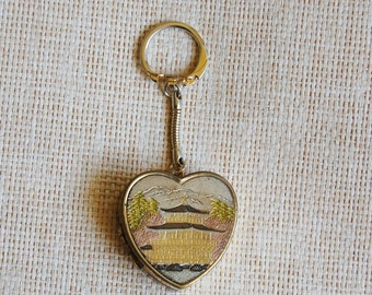 1960s Heart Shaped Key Chain Sankyo Etched Asian Pagoda Design Vintage Fob Frame