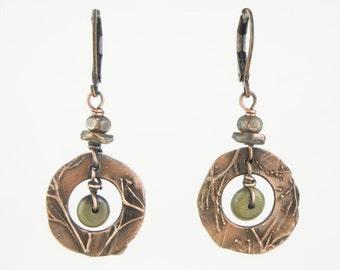 Copper circle frame Earrings; septarium; Dogwood