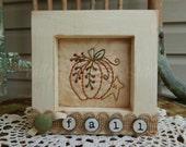 Decorative Fall Framed Stitchery, Pumpkin, Star, Fall Decor, Hand Stitched