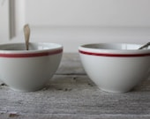 Old Diner Coffee Cups, Restaurant coffee cups, Vintage Red and White Shenango , Red Transfer ware,