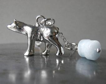 Polar bear on ice aquamarine charm arctic necklace, polar bear necklace, silver plated, animal nature jewelry silver bear totem amulet bear