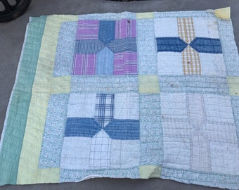 Vintage Hand Quilted Feedsack Fabric Cutter Quilt Piece