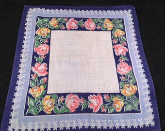 Vintage Blue and White with Pink and Yellow Roses Print Ladies' Hankie/Handkerchief