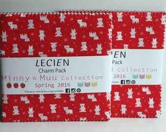 SALE 2 Packs 5 inch charm pack squares fabric MINNY MUU Collection Lecien spring 2016