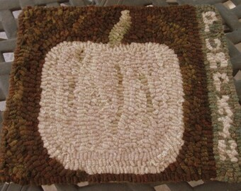 Primitive White Pumpkin Rug  All Proceeds from this Rug will be donated to MANGO ON A MISSION