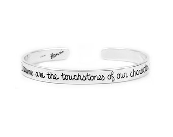Dream Silver Cuff Bracelet - Inspirational Jewelry With Words- Thoreau Quote Graduation Gift